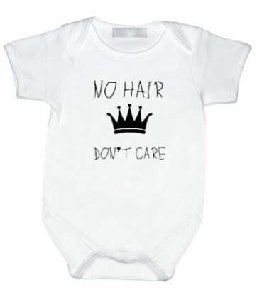Rompertje met print: No hair don't care