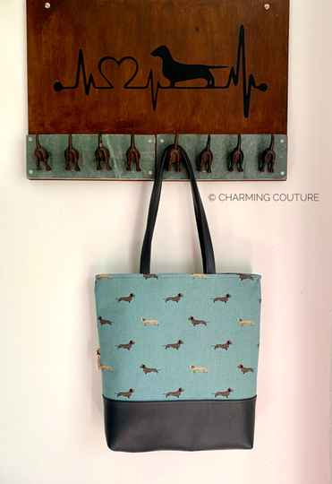 Shopper teal teckelprint