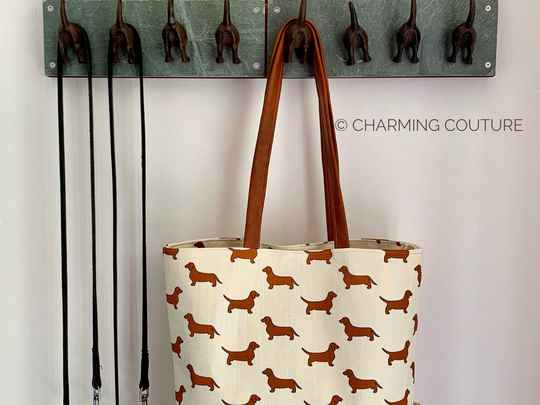 Tote Bag - Short haired dachshunds Cream
