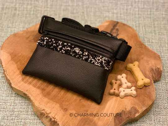 Treat Bag - Black with Black and Silver Strass Stones