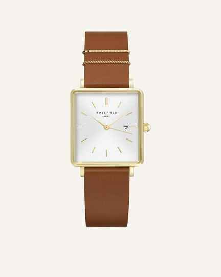 The Boxy White Cognac Gold 33mm