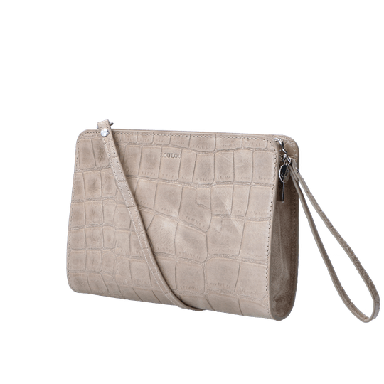 By LouLou crossbody vintage croco taupe - zilver