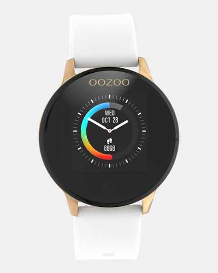 OOZOO smartwatch witte rubberen band rose kast