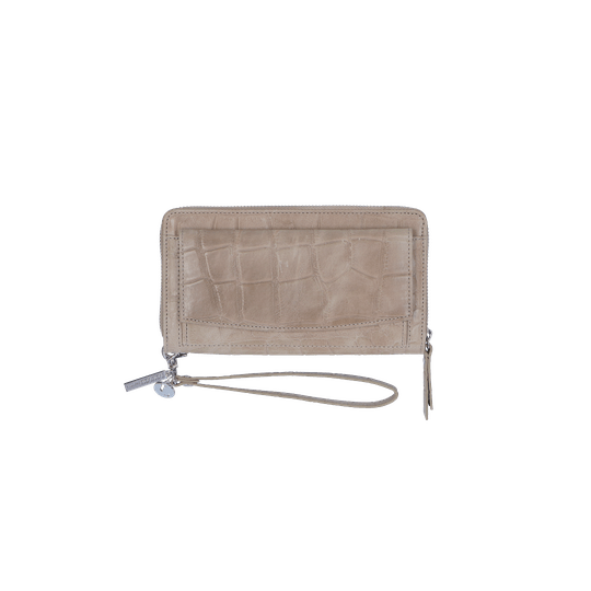 By LouLou grote portemonnee vintage croco taupe - zilver