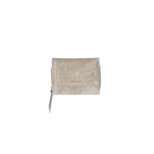 By LouLou kleine portemonnee vintage croco taupe - zilver