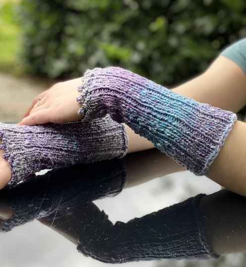 Armwarmers, paars-turquoise