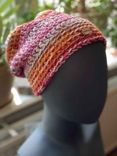 ChunkyBeanie - Orange / pink, no-wool