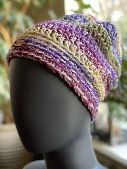 ChunkyBeanie - Pink / purple / yellow, no-wool