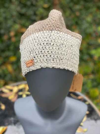 Two-Tone Beanie - Off-white & Beige