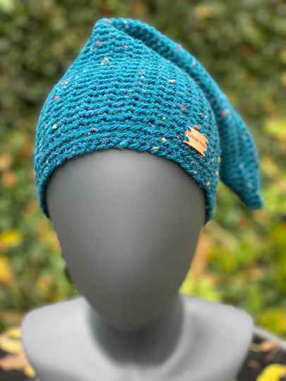 'Nissehue' (punt-beanie) - Turquoise