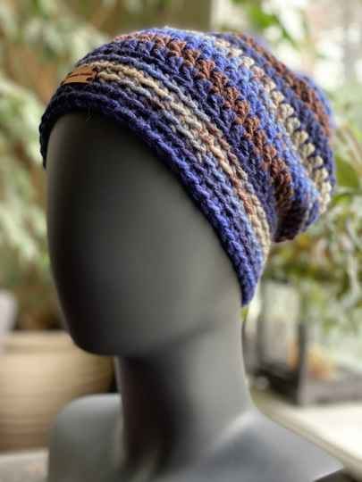 ChunkyBeanie - Blue / Brown, no-wool
