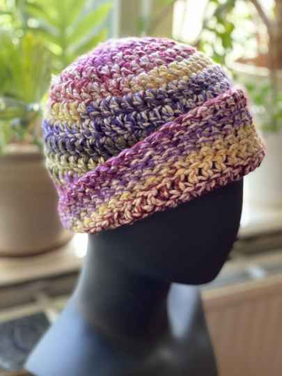ChunkyBeanie - Paars / Geel / Roze, nul-wol