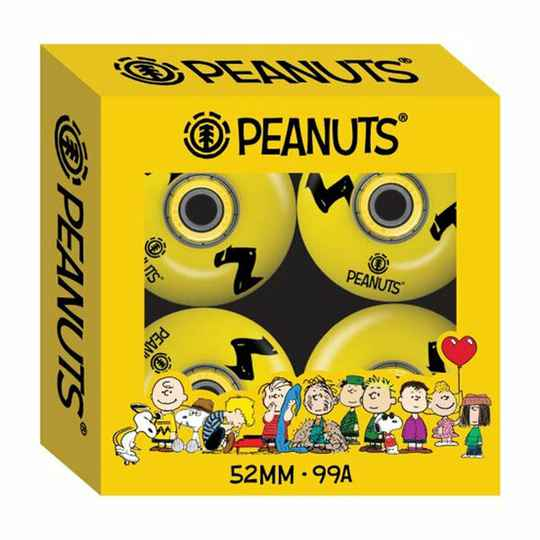 ELEMENT X PEANUTS CHARLIE BROWN WHEELS AND BEARINGS 52MM 99A (Set Of 4)