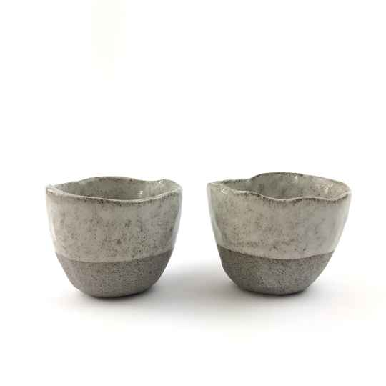 Set of 2 Handmade Grey-Brownish Speckled Espresso Cups