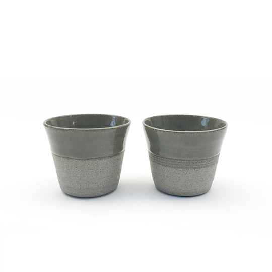 Set of 2 Handmade Grey Cups