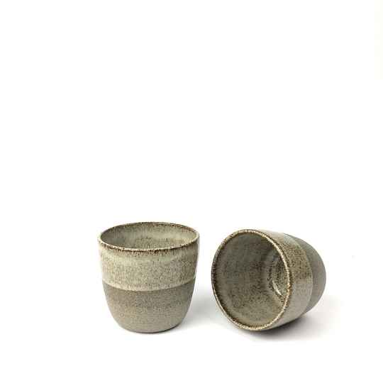 Set of 2 Handmade Grey Espresso Cups