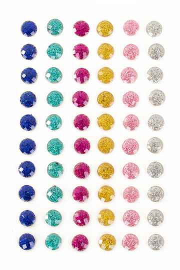 PXP Professional Colours Decoratiestickers rondje glitter 60 stuks assorti