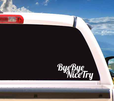 Autosticker 'ByeBye NiceTry'