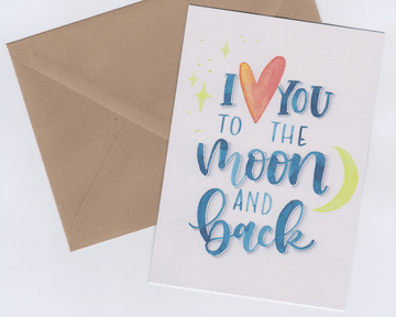 """wenskaart """"I love you to the moon and back"""""""