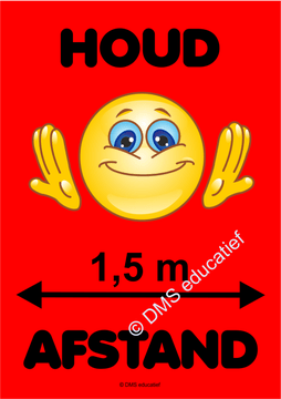 Sticker 'Houd afstand' Smiley (rood) A5