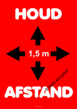 Poster 'Houd afstand' (rood) A2