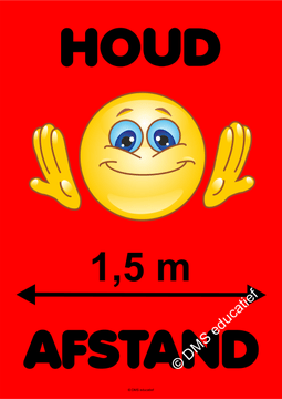 Poster 'Houd afstand smiley' (rood) A2