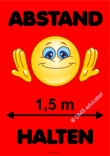 Poster 'Abstand halten' - Rot Smiley A3