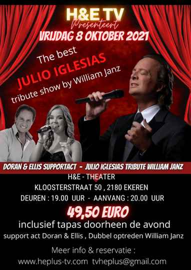 VRIJDAG 8 OKTOBER 2021  TRIBUTE TO JULIO IGLESIAS SHOW