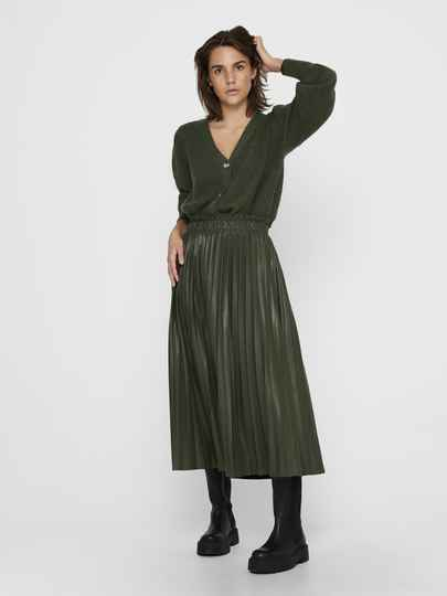 Only Rachel coated skirt zwart en groen