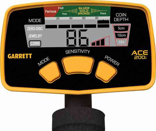 Garrett Ace 200i display sticker