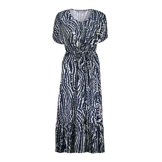 Geisha maxi dress met all over print Navy/White 17355-40