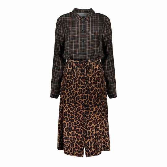 Geisha dress check with leopard 07633-20