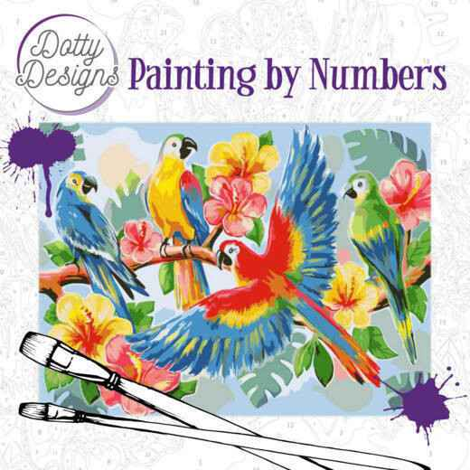 Dotty Design Painting by Numbers - Parrots  DDP1003