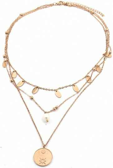 Ketting Coins & Pearl Rose Gold