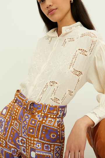 Antik Batik | Suzie Embroidered Blouse | Cream
