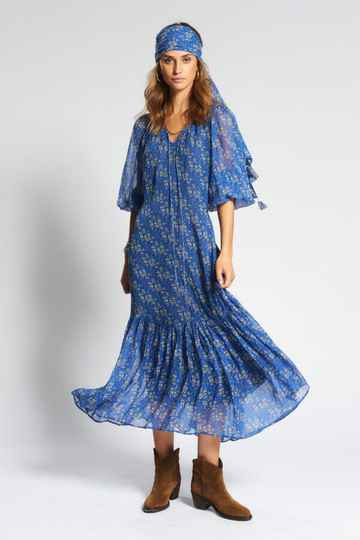 Moliin | Maxi Dress Asuri | Blauwe bloemenprint