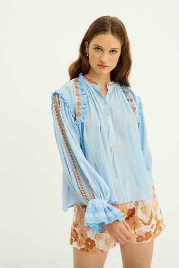 Antik Batik | Pietro Embroidered Blouse | Blue