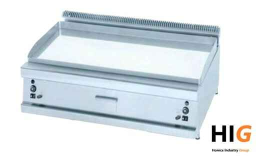 Frytop Opzet - Chroom - Gladde plaat - Line 900 - 800mm Breed - GAS -203614S