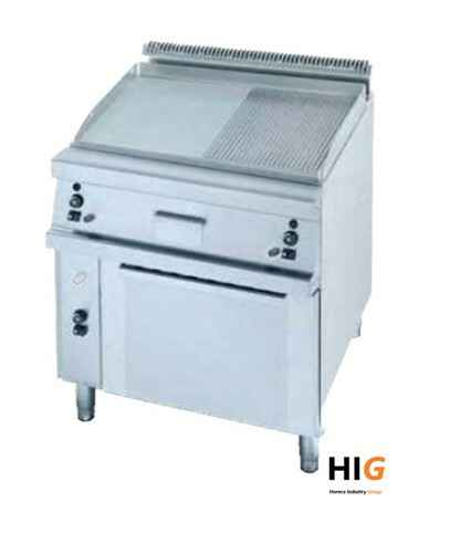 Frytop CrD.15mm - GN 2/1 oven - Line 750 - GAS - 800mmBreed - 1/2 Glad - 1/2Geribd  - 203664H