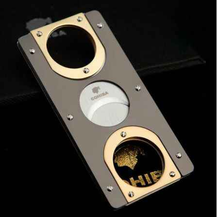 Double Blades Stainless Steel Gold Plated Cigar Cutter