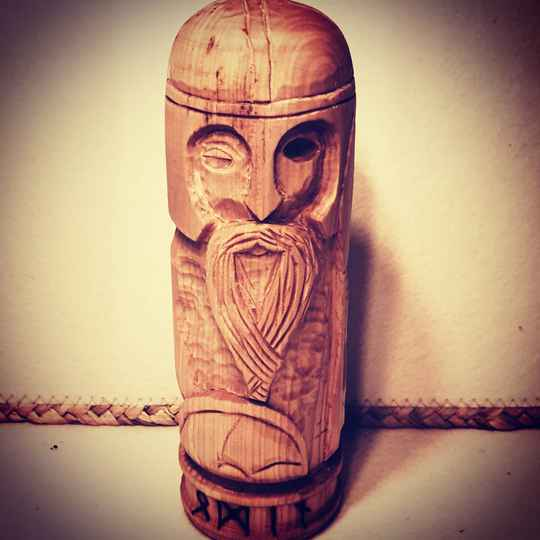 Wooden statue of Odin