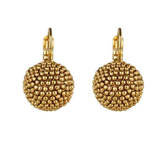 Gold plated globe dormeuses | Camps & Camps earring