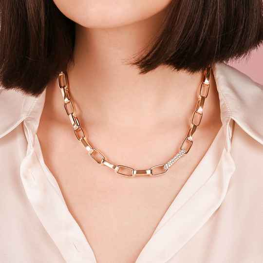 Bold Forzatina Chain Necklace with Pavé Detail | Bronzallure ketting