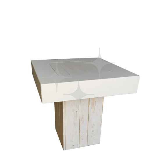 Natural White zit-/dinertafel 80x80