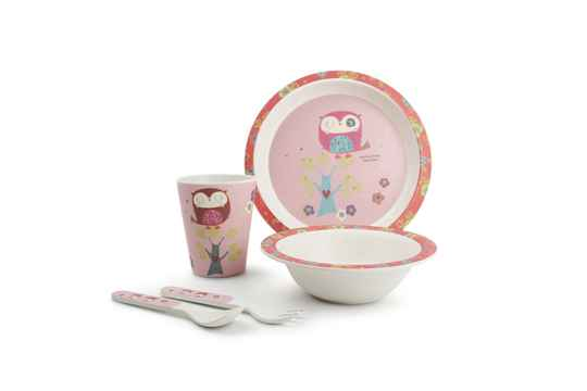 Yong Kinderservies Uil Bamboe Roze 5 Delig. 613352