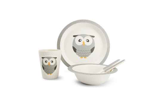 Yong Kinderservies Uil Bamboe 5 Delig. 685002