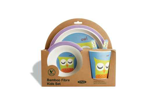 Yong Kinderservies Uil Bamboe Blauw 5 Delig. 613332