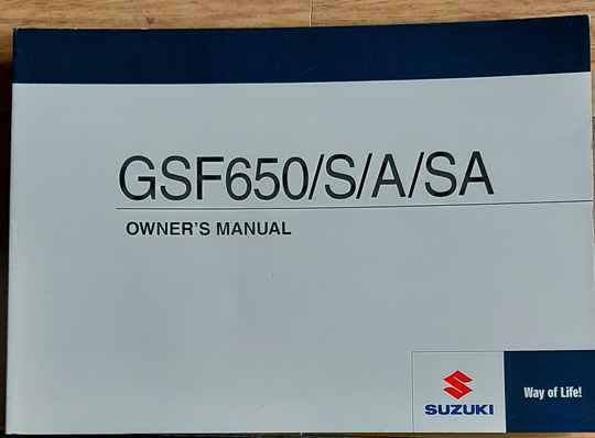 Owner's manual - 9901146H6301A - GSF650/S/A/SA