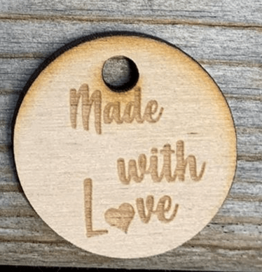 Houten label 'Made with love'