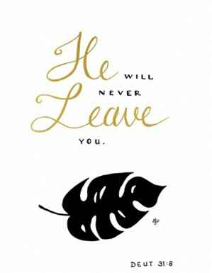 Kaart 'He will never leave you'